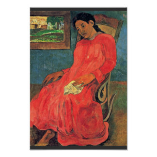 Woman In Red Dress By Paul Gauguin (Best Quality) Poster