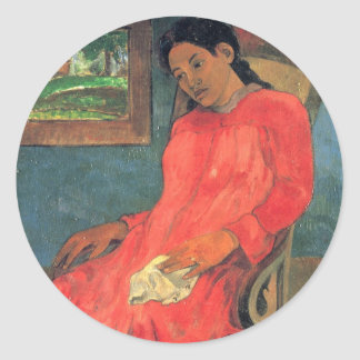 Woman in red dress - Paul Gauguin Classic Round Sticker