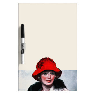 Woman in Red Hat Dry-Erase Board