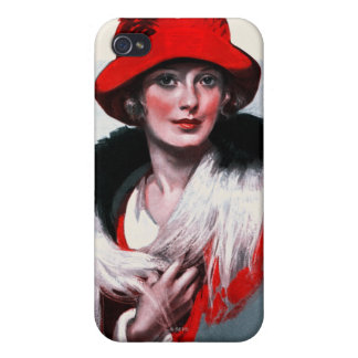 Woman in Red Hat iPhone 4/4S Case
