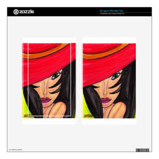 Woman in Red Hat Kindle Fire Skin