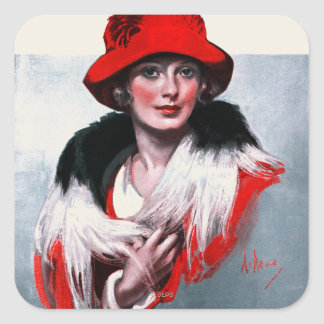 Woman in Red Hat Square Sticker