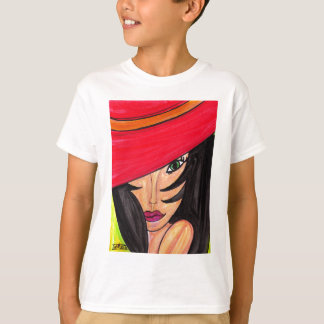 Woman in Red Hat T-Shirt