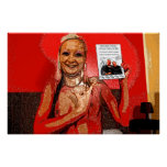 Woman in red helding good book poster