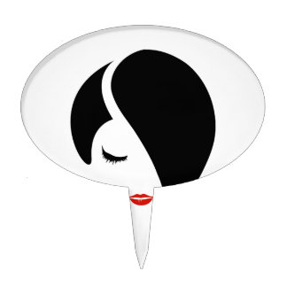 Woman in red lipstick and emo hair cake topper