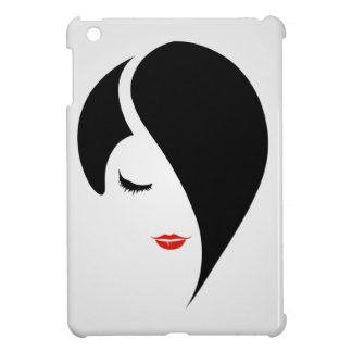 Woman in red lipstick and emo hair case for the iPad mini