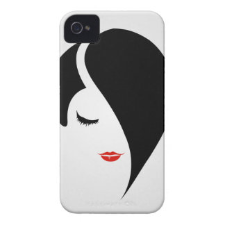 Woman in red lipstick and emo hair Case-Mate iPhone 4 case