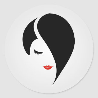 Woman in red lipstick and emo hair classic round sticker