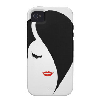 Woman in red lipstick and emo hair iPhone 4/4S case