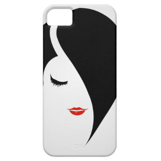 Woman in red lipstick and emo hair iPhone SE/5/5s case