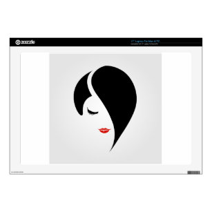 Woman in red lipstick and emo hair laptop skin