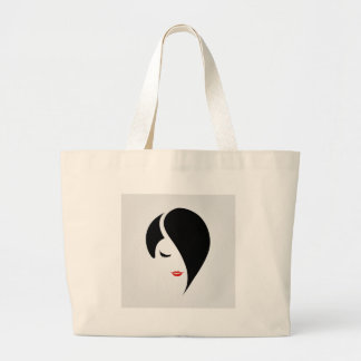 Woman in red lipstick and emo hair large tote bag