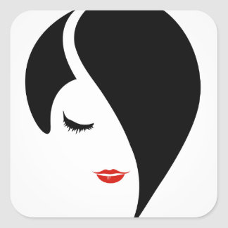 Woman in red lipstick and emo hair square sticker