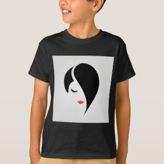 Woman in red lipstick and emo hair T-Shirt