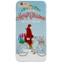 Woman in Red Riding Bicycle Merry Christmas Phone Barely There iPhone 6 Plus Case