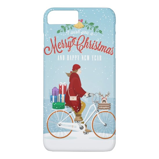 Woman in Red Riding Bicycle Merry Christmas Phone iPhone 7 Plus Case