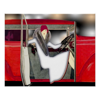 Woman in Red Sports Car Poster