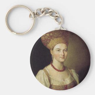 Woman in Russian Costume 1784 Keychain