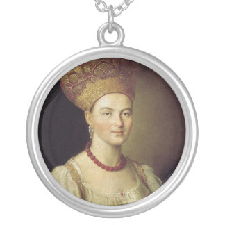 Woman in Russian Costume 1784 Silver Plated Necklace
