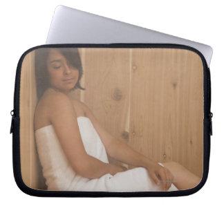 Woman in Sauna Computer Sleeve