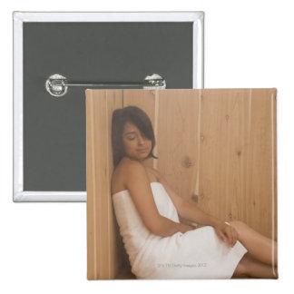 Woman in Sauna Pinback Button