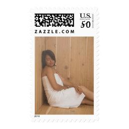 Woman in Sauna Postage