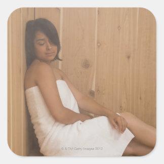 Woman in Sauna Square Sticker