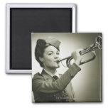Woman in Soldier Uniform 2 Inch Square Magnet