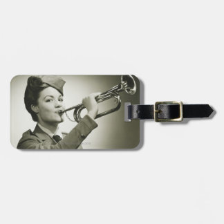 Woman in Soldier Uniform Tag For Luggage