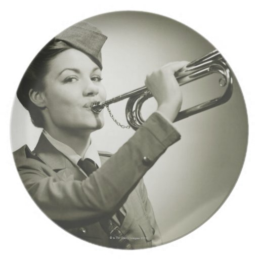 Woman in Soldier Uniform Plate