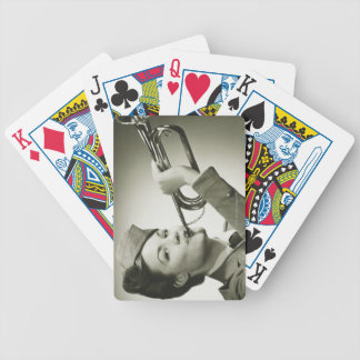 Woman in Soldier Uniform Poker Cards