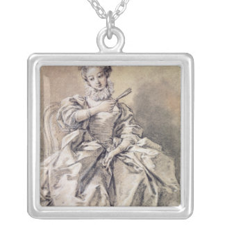 Woman in Spanish Costume Silver Plated Necklace