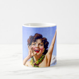 Woman in Swimsuit at the Beach Coffee Mug