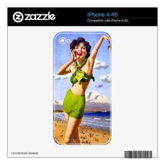 Woman in Swimsuit at the Beach iPhone 4S Decal