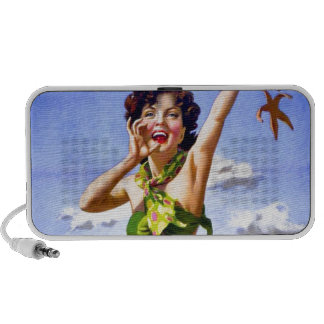 Woman in Swimsuit at the Beach Mini Speakers