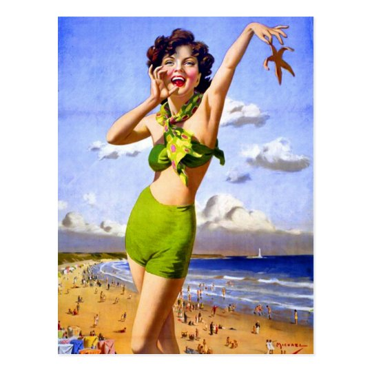 Woman in Swimsuit at the Beach Postcard