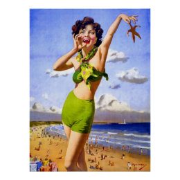 Woman in Swimsuit at the Beach Poster