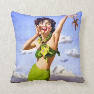 Woman in Swimsuit at the Beach Throw Pillow