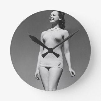 Woman in Swimsuit Round Wall Clock