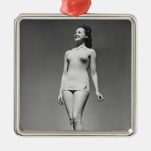 Woman in Swimsuit Square Metal Christmas Ornament