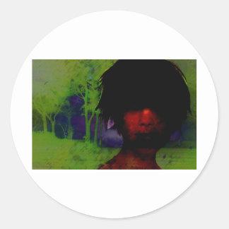 Woman in the Dark woods Classic Round Sticker