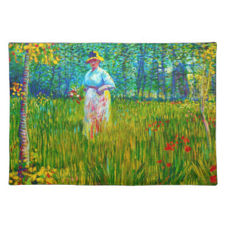 Woman in the Garden by Vincent Van Gogh Cloth Placemat