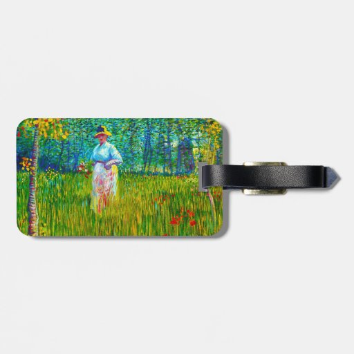 Woman in the Garden by Vincent Van Gogh Travel Bag Tags