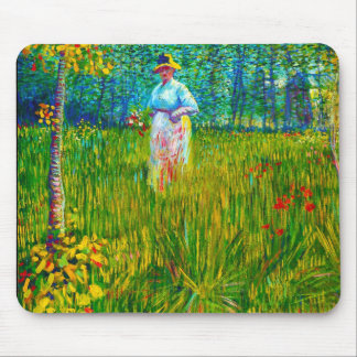 Woman in the Garden by Vincent Van Gogh Mouse Pad