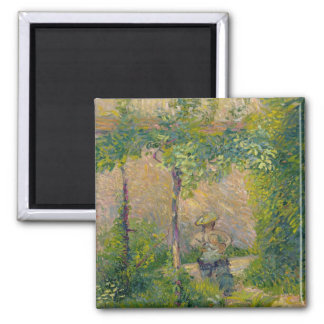 Woman in the Garden (oil on canvas) 2 Inch Square Magnet
