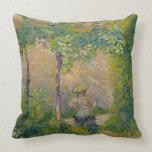 Woman in the Garden (oil on canvas) Pillows