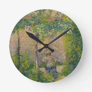 Woman in the Garden (oil on canvas) Round Clock