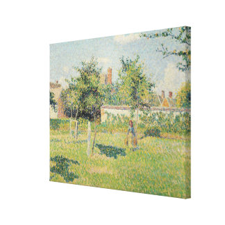 Woman in the Meadow at Eragny, Spring, 1887 Canvas Print
