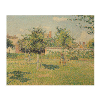 Woman in the Meadow at Eragny, Spring, 1887 Wood Wall Art