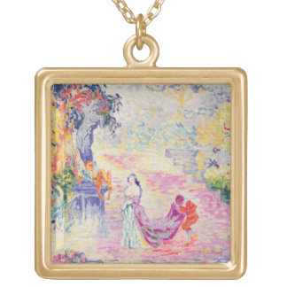 Woman in the Park, 1909 (oil on canvas) Gold Plated Necklace